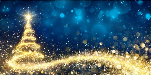golden christmas tree in abstract night picture id865140324