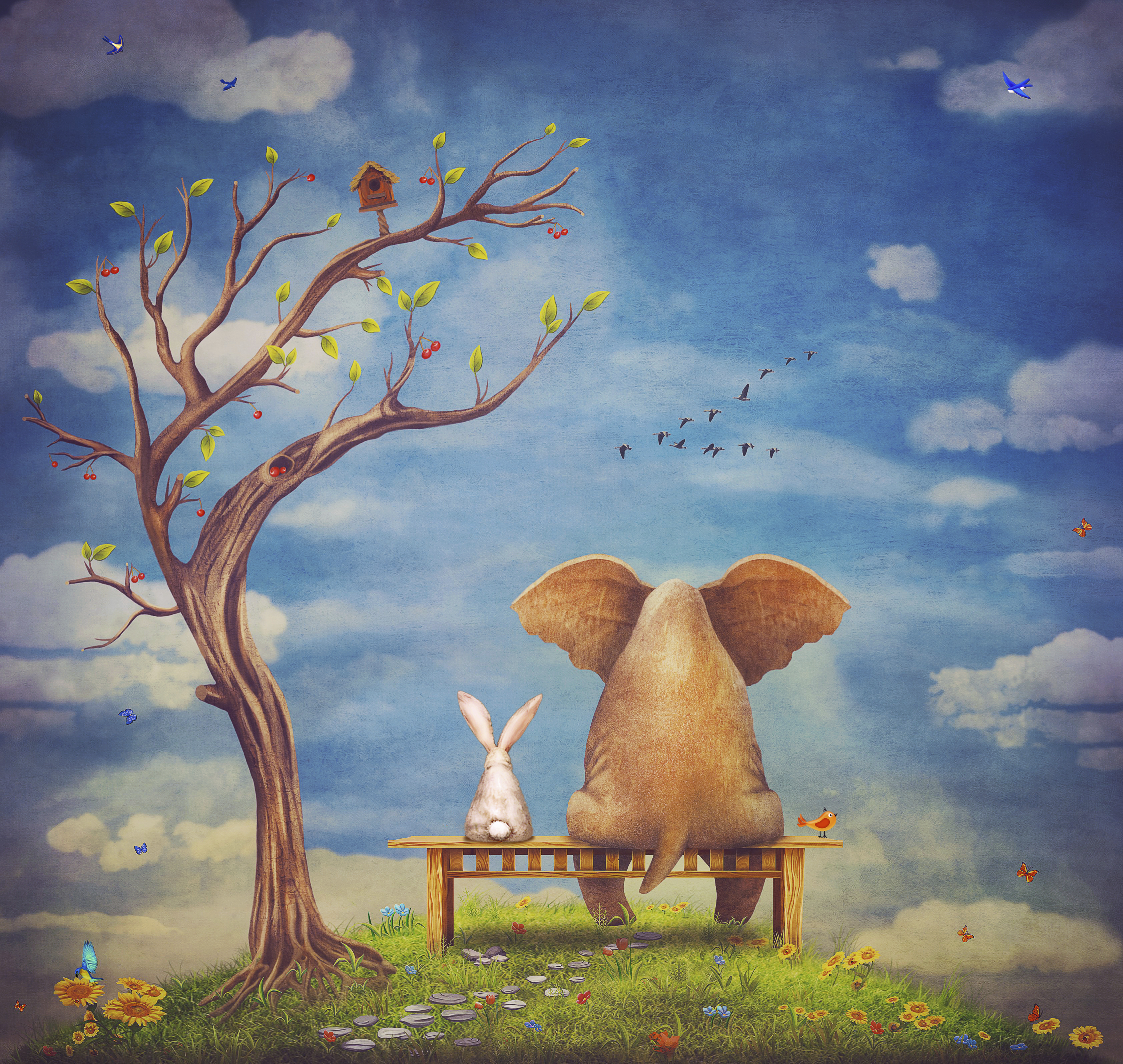 Elephant and rabbit sit on a bench on the glade 000075861525 Large